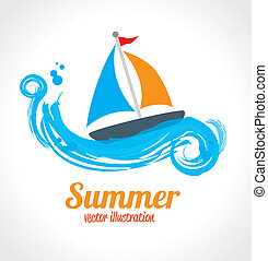summer design - summer design over white and blue background...