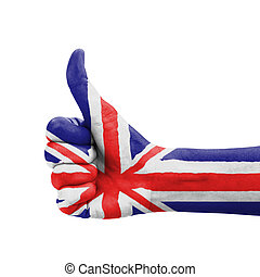 Hand with thumb up, UK United Kingdom flag painted as symbol...