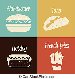 fast food design over colors background vector illustration