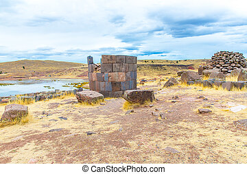 Funerary towers in Sillustani, Peru,South America- Inca...