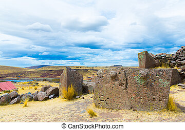 Funerary towers and ruins in Sillustani, Peru,South America-...