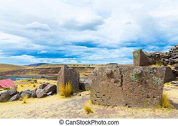 funerario, Torres, Ruinas, Sillustani, perú, sur,...