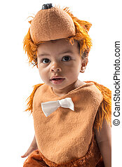 Black baby boy,dressed in furry teddy bear carnival suit  isolated on white . The concept of childhood and holiday
