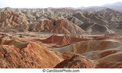 Landscape of Danxia landform - Colorful mountains of Danxia...