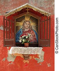 Europa, figura, parede, Itália,  Jesus, santuário