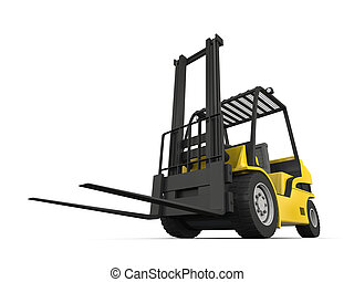 Forklift - Modern yellow forklift isolated on white...