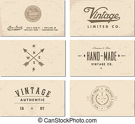 Vector Vintage Business Card Template Set