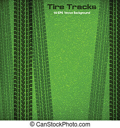 Tire tracks on green