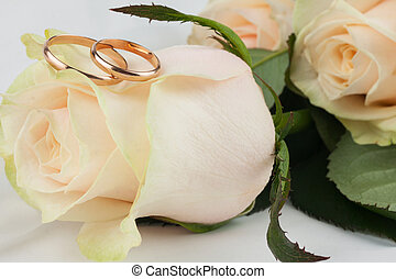 Two wedding rings lie on a rose
