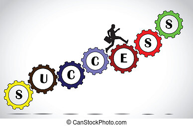 businessman on gears of success