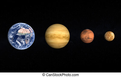 Planets Earth Venus Mars and Moon - A comparison between the...