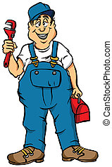 The Plumber - Vector Cartoon of a Plumber Ready for Work