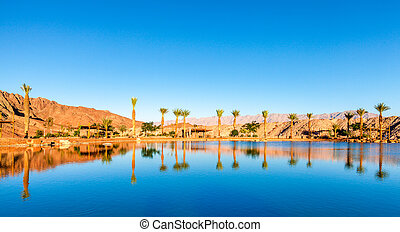 Timna Lake - An artificial lake in Timna National Park in...