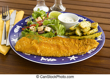 Crumbed Fish - Delicious fried crumbed fish with kipfler...