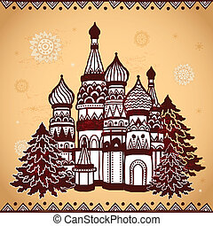Folkloric style temple  can be used as a greeting card