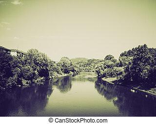 Vintage sepia River Po, Turin - Retro sepia Fiume Po (River...