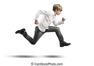 Running child - Running young boy isolated on white...