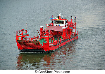 Firefighters - red firefighter boat on the rhine