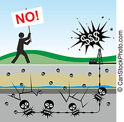 fracking - illustration of environmental risks caused by...