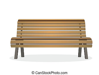 bench - frontal view of a wooden park bench
