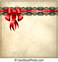 Holiday background with red ribbon on old paper,  EPS10