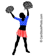 Cheerleader girl in dress from American flag on white...