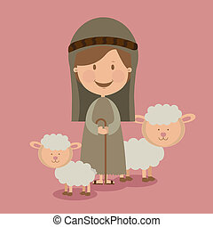 manger design over pink background vector illustration