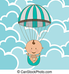 baby arrival design over clouds background vector...