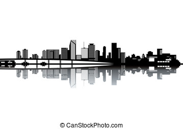 Miami skyline - black and white vector illustration