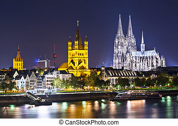 Cologne, Germany skyline on the Rhine River.