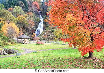Waterfall and waterwheel in autumn - Waterfall in autumn,...