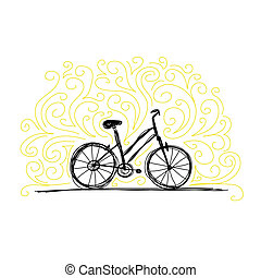 Sketch of bicycle on ornamental wall for your design