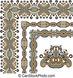 floral vintage frame design. Vector set. All components are...