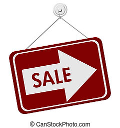 Sale Sign - A red and white sign with the word Sale and...