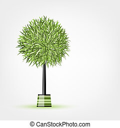 Green tree circle shape for your design