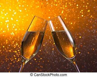 dorado, luz,  bokeh, Plano de fondo, par, champaña, Flautas
