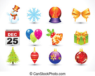 Abstract Christmas icon set vector