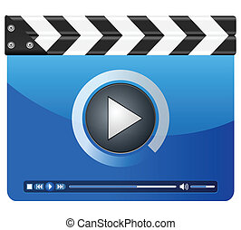 media player clapper board - Movie clapper board on a white...