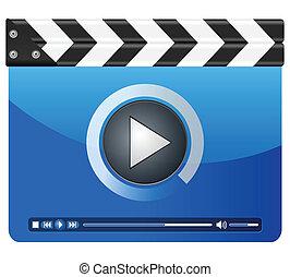 media player clapper board - Movie clapper board on a white...