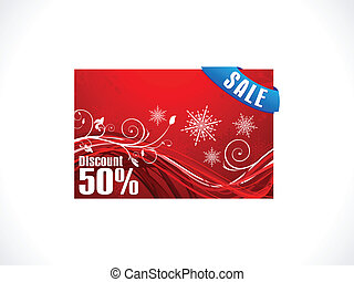 abstract christmas discount card template vector...