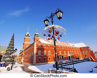 Warsaw Castle, Poland - Castle and Christmas Decorations in...