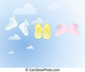 baby booties - an illustration of three pairs of baby...