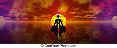 Chakras - 3D render - Silhouette of a man meditating with...