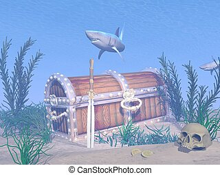 Lost treasure chest - 3D render - Fantasy underwater scenery...