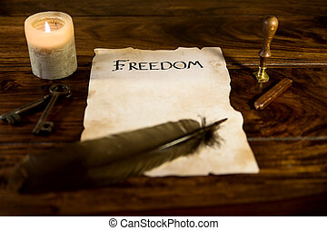 old document with the word freedom - an old document with...