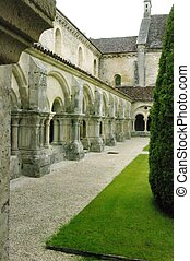 Gallery of the cloister of the Abbey of Fontenay. Constrite...