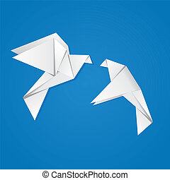 Pair of pigeons - Two white origami pigeons on blue...