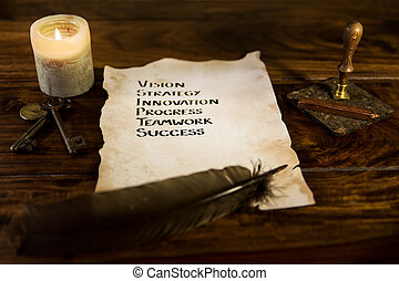 old parchment with the secret to success