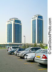 Modern Astana - Parking of private vehicles near the modern...