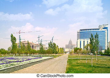 Modern Astana - City landscape Straight boulevard with...